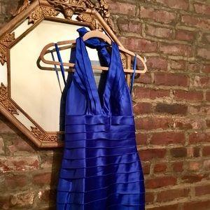 BCBG Blue Tiered Halter Dress